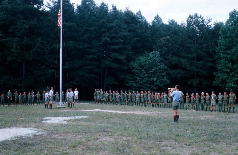 The ceremony began when the entire camp gathered in the main assembly area.